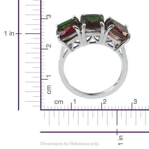 Tourmaline Colour Quartz (Cush) Trilogy Ring in Platinum Overlay Sterling Silver 6.750 Ct.