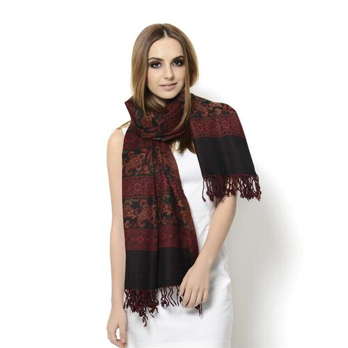 Designer Inspired 100% Wool Red and Multi Colour Floral and Paisley Pattern Black Colour Scarf (Size 175x65 Cm)