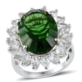 Helenite (Ovl 10.25 Ct), White Topaz Ring in Platinum Overlay Sterling Silver 13.750 Ct.
