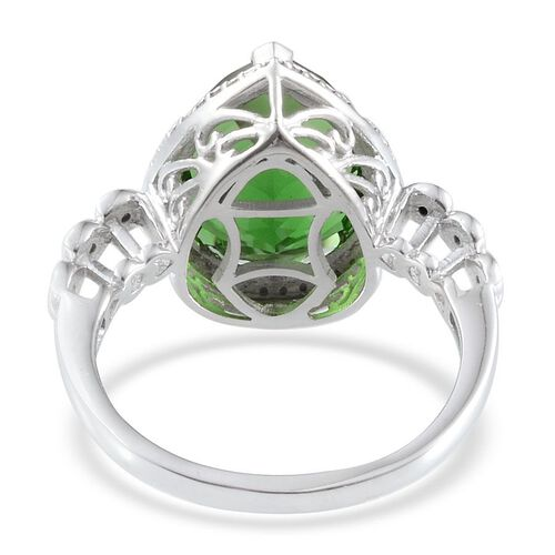 Helenite (Pear 6.75 Ct), Diamond Ring in Platinum Overlay Sterling Silver 6.800 Ct.