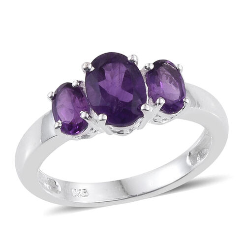 AA Lusaka Amethyst (Ovl 1.15 Ct) 3 Stone Ring in Sterling Silver 2.000 Ct.
