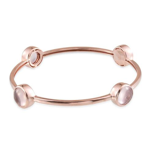 Rose Quartz (Rnd) Bangle (Size 7.5) in Rose Gold Overlay Sterling Silver 15.000 Ct.
