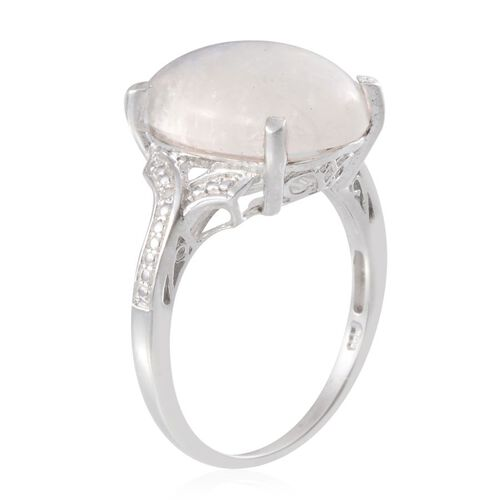 Ceylon Rainbow Moonstone (Ovl 12.00 Ct), Diamond Ring in Platinum Overlay Sterling Silver 12.010 Ct.