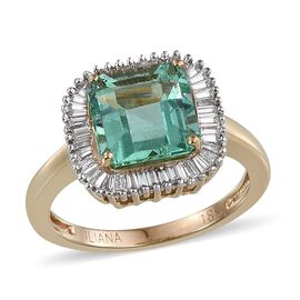 ILIANA 18K Y Gold Boyaca Colombian Emerald (Oct 3.00 Ct), Diamond Ring 3.500 Ct.