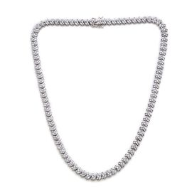J Francis - Platinum Overlay Sterling Silver (Mrq) Necklace (Size 18) Made with SWAROVSKI ZIRCONIA 21.120 Ct.