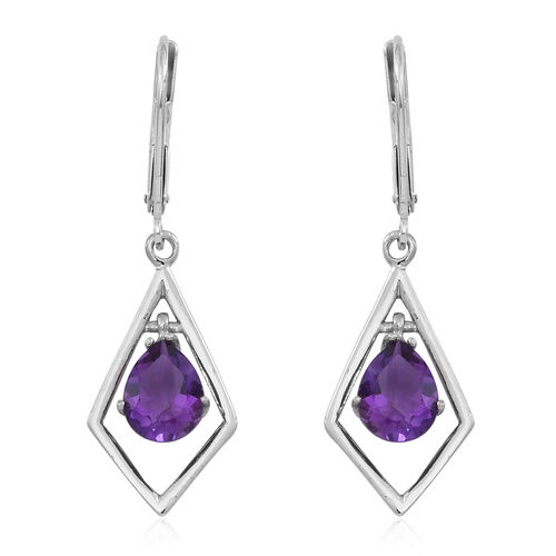 Natural Uruguay Amethyst (Pear) Lever Back Earrings in Rhodium Plated Sterling Silver 1.250 Ct.