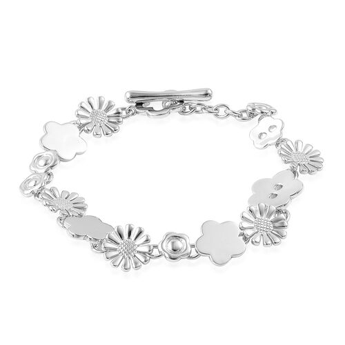 LucyQ Floral Bracelet (Size 7.75) in Rhodium Plated Sterling Silver 20.87 Gms.