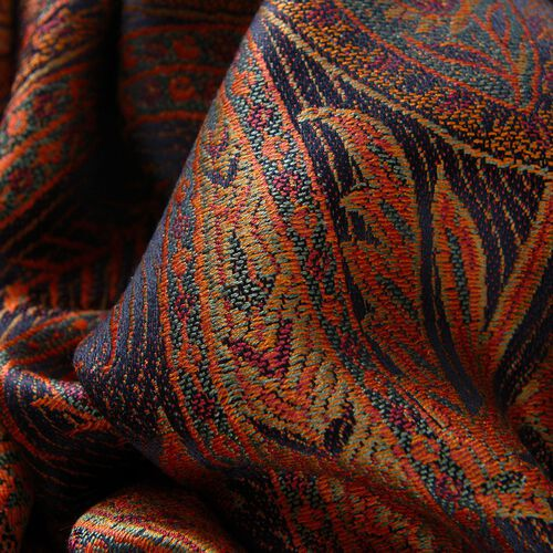 SILK MARK - 100% Superfine Silk Orange and Multi Colour Paisley and Leaves Pattern Chocolate Colour Jacquard Jamawar Shawl with Fringes (Size 180x70 Cm) (Weight 125-140 Grams)