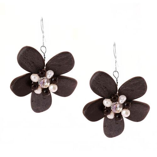 Black Bead, Freshwater Pearl Hook Earrings in Silver Tone 90.000 Ct.