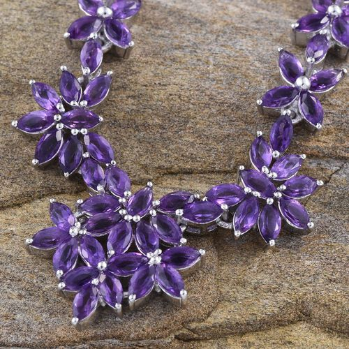 AA Lusaka Amethyst (Mrq) Necklace (Size 18) in Platinum Overlay Sterling Silver 13.750 Ct.