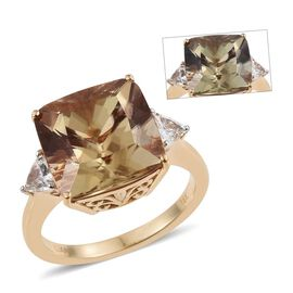 ILIANA 18K Y Gold AAA Natural Turkizite (Cush 9.40 Ct), Diamond (SI/G-H) Ring 9.750 Ct.