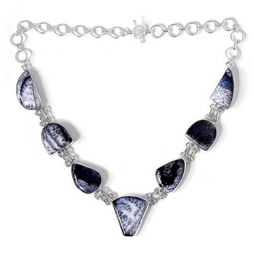 Designer Dendritic Opal Necklace in Sterling Silver 73.25 Ct.