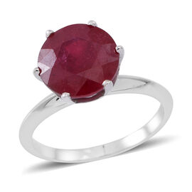 9K W Gold African Ruby (Rnd) Solitaire Ring 5.750 Ct.