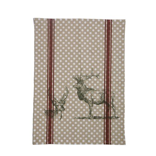 (Option-1) Set of 2 - 100% Cotton Stag Design Grey, Maroon and White Colour Placemat (Size 48x33 Cm) and Beige Colour Napkin (Size 45x45 Cm)