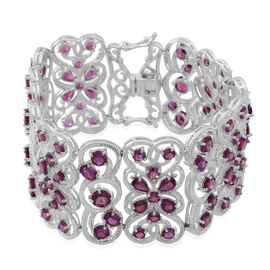 Rhodolite Garnet (Pear) Bracelet (Size 8) in Rhodium Plated Sterling Silver 39.400 Ct.