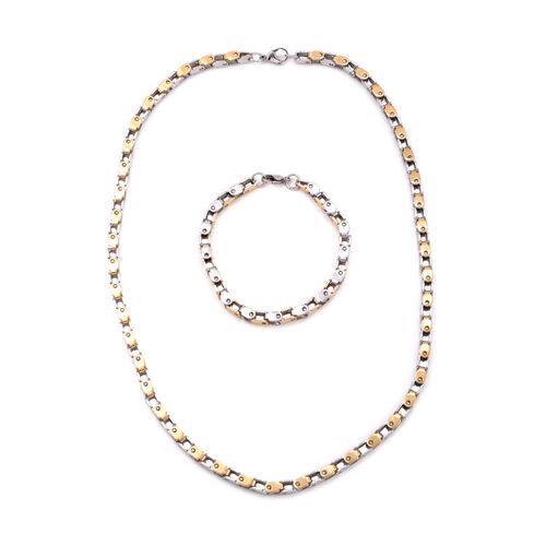 Close Out Deal Yellow Gold Plated and Stainless Steel Necklace and Bracelet