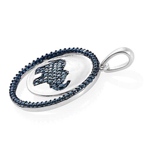 Blue Diamond (Rnd) Elephant in Circle Pendant in ION Plated Platinum Bond