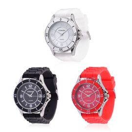 DOD - Super Auction. Designer Inspired - Special Edition Set of 3 - STRADA Japanese Movement Red, Black and White Colour Dial Water Resistant Watch in Silver Tone with Silicone Strap