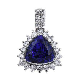 RHAPSODY 950 Platinum AAAA Tanzanite Trillion 5.60 Ct, Diamond Pendant 6.50 Ct. with VS E-F Diamonds.
