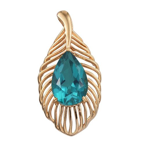 Capri Blue Quartz (Pear) Pendant in ION Plated 18K YG Bond 5.250 Ct.