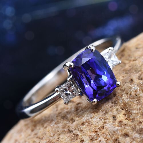RHAPSODY 950 Platinum 2 Carat AAAA Tanzanite Cushion Ring, Diamond VS E-F.