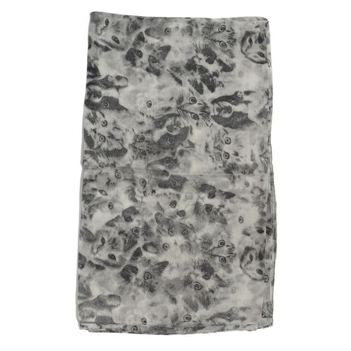 100% Mulberry Silk Cat Printed Grey and Black Colour Scarf (Size 180x105 Cm)