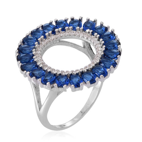 ELANZA AAA Simulated Ceylon Sapphire (Ovl), Simulated Diamond Ring in Rhodium Plated Sterling Silver