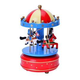 Red, Blue and White Vintage Style Wooden Horses Carosel
