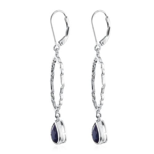 Kimberley Crimson Spice Collection Enhanced Sapphire (Pear) Lever Back Earrings in Platinum Overlay Sterling Silver 2.500 Ct.