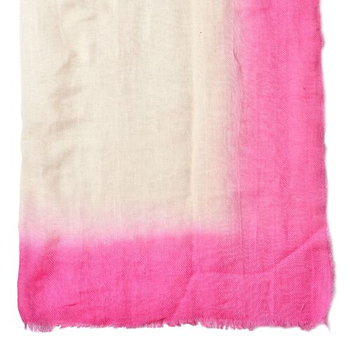 Beige, Rose Pink and Light Pink Colour Scarf with Fringes (Size 180X90 Cm)