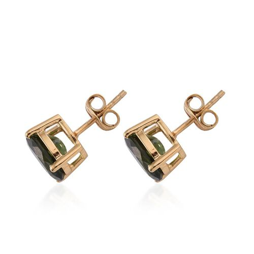 Bohemian Moldavite (Ovl) Stud Earrings (with Push Back) in 14K Gold Overlay Sterling Silver 2.750 Ct.