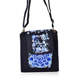 Rich Blue Colour Peony Embroidered  Crossbody Bag with External Zipper Pocket (Size 22x21 Cm)