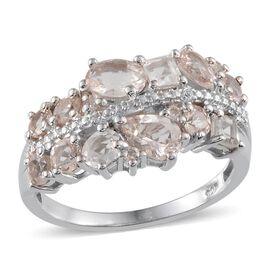 Marropino Morganite (Ovl), White Topaz Ring in Platinum Overlay Sterling Silver 2.000 Ct.