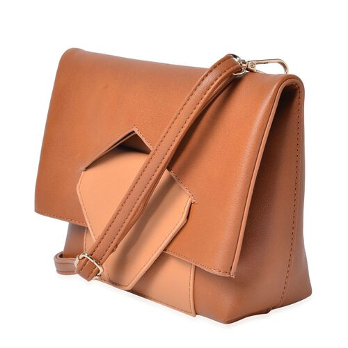 Celia Tan Shoulder Bag with Adjustable and Removable Shoulder Strap (Size 26x20x17x7 Cm)