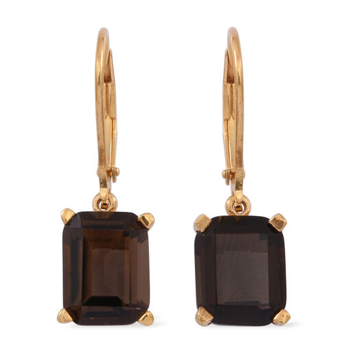 Brazilian Smoky Quartz (Oct) Lever Back Earrings in 14K Gold Overlay Sterling Silver 5.500 Ct.