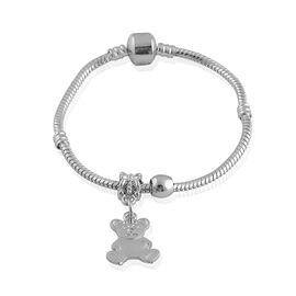 Bracelet with Panda Charm in Silvertone (Size 7.5)