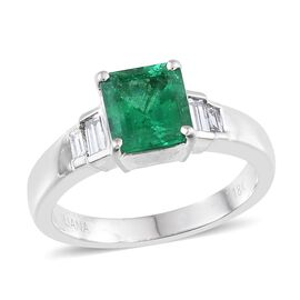 ILIANA 18K W Gold Boyaca Colombian Emerald (Oct 1.64 Ct), Diamond Ring 2.000 Ct.