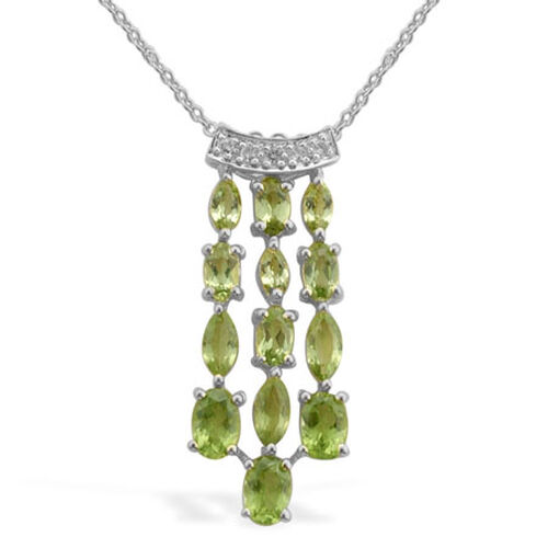 Hebei Peridot (Ovl), White Topaz Pendant With Chain in Platinum Overlay Sterling Silver 3.046 Ct.