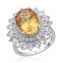 Citrine (Ovl 5.00 Ct), White Topaz Ring in Platinum Overlay Sterling Silver 8.000 Ct.