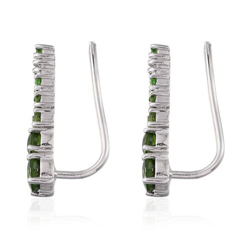 Russian Diopside (Rnd) Climber Earrings in Platinum Overlay Sterling Silver 2.750 Ct.