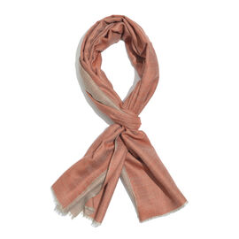100% Cashmere Wool Orange and Light Coffee Colour Reversible Scarf (Size 200x70 Cm)