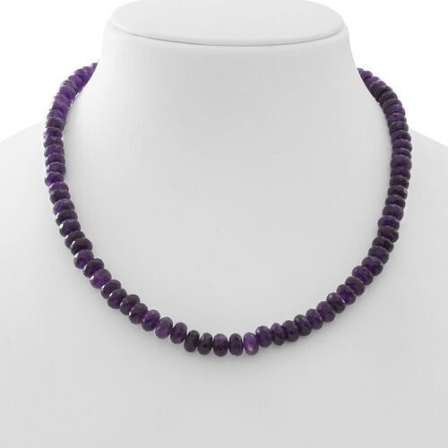 Limited Available Rare Amethyst Necklace (Size 18) with Magnetic Clasp in Rhodium Plated Sterling Silver 200.000 Ct.