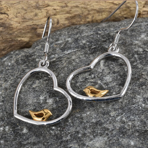 Platinum and Yellow Gold Overlay Sterling Silver Bird in Heart Lever Back Earrings 2.98 Gms.