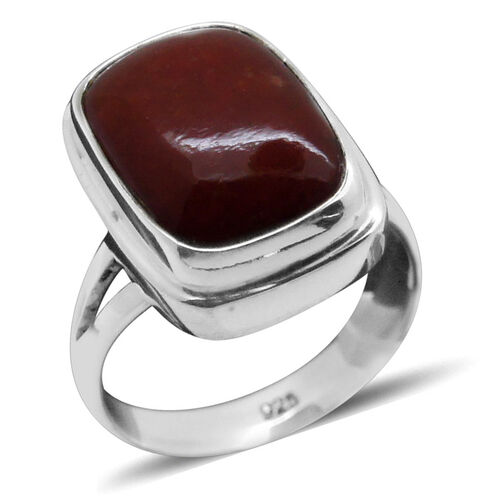 Royal Bali Collection Dyed Red Jade (Cush) Solitaire Ring in Sterling Silver 9.010 Ct.