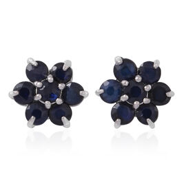 AA Kanchanaburi Blue Sapphire (Rnd) Floral Stud Earrings (with Push Back) in Rhodium Overlay Sterling Silver 1.250 Ct.