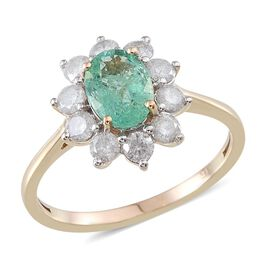 9K Y Gold Boyaca Colombian Emerald (Ovl 1.10 Ct), Diamond Ring 2.000 Ct.