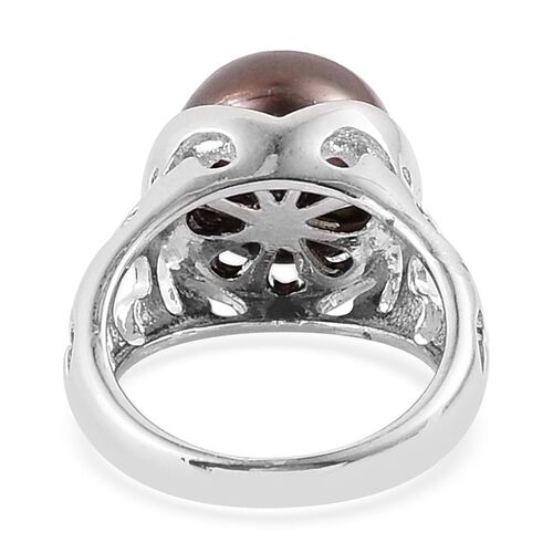 Fresh Water Peacock Pearl Solitaire Ring in Silver Tone