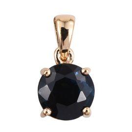 ILIANA 18K Yellow Gold 1.25 Carat Kanchanaburi Blue Sapphire Round Solitaire Pendant.