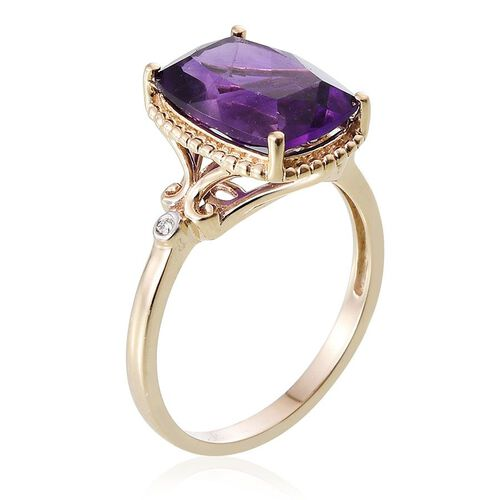9K Y Gold AAA Lusaka Amethyst (Cush 5.50 Ct), Diamond Ring 5.520 Ct.