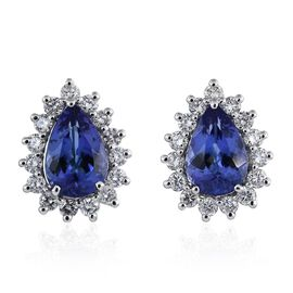 ILIANA 18K White Gold 3.50 Carat AAA Tanzanite Halo Studs With Diamond SI G-H